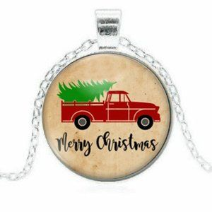 Jewelry - Merry  Christmas Tree Truck Pendant Necklace Gift
